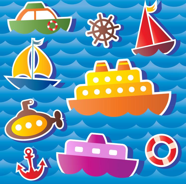 卡通海洋交通工具矢量素材
