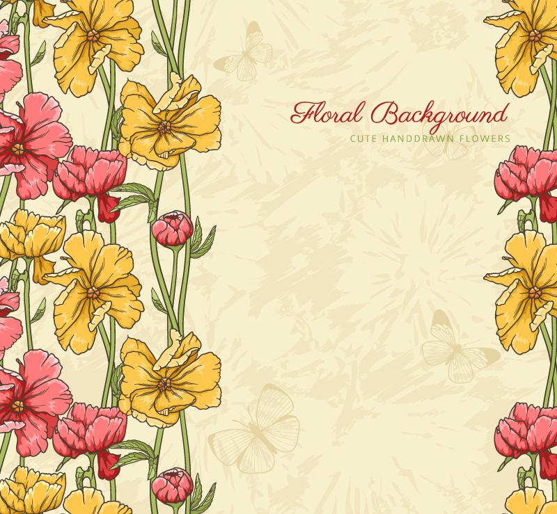 怀旧花卉背景设计矢量素材