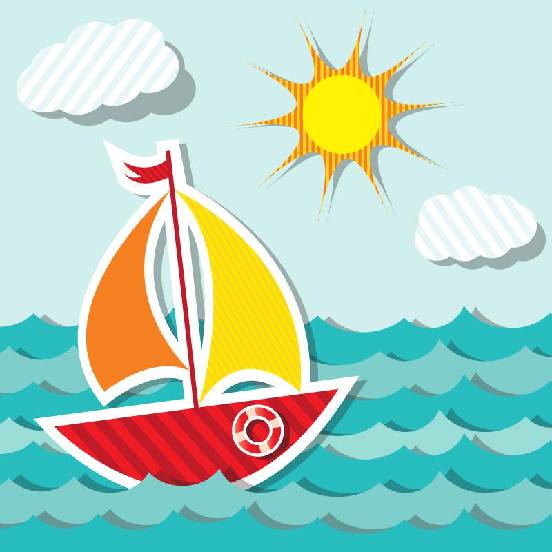 卡通彩色帆船矢量素材