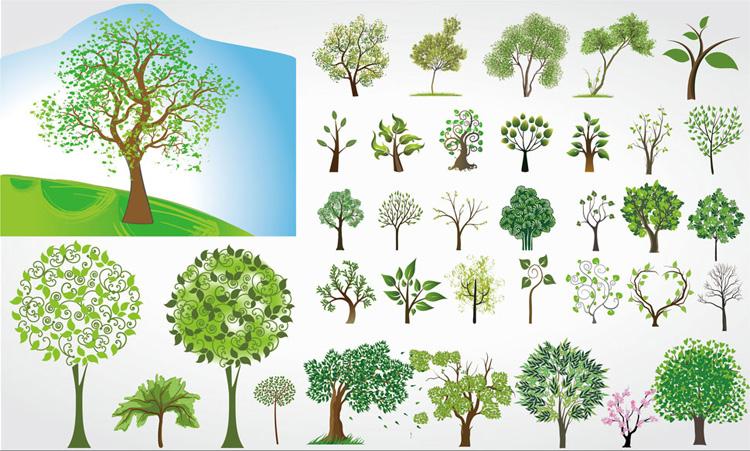 卡通树木主题矢量素材