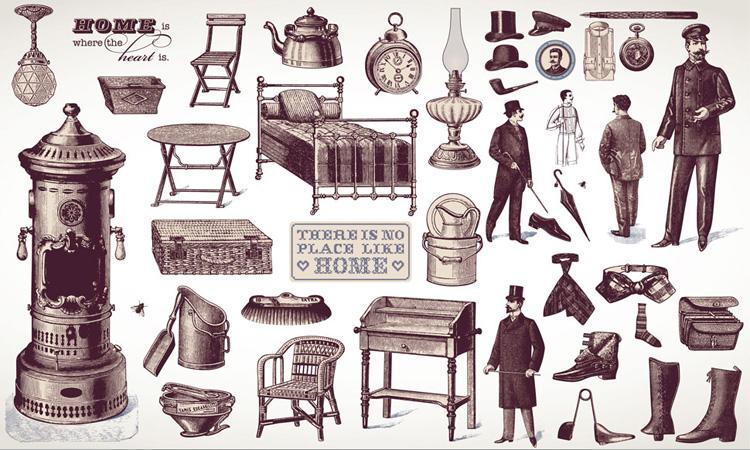 欧洲复古人物与家具设计矢量素材