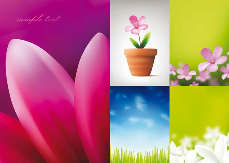 美丽花朵与蓝天矢量素材