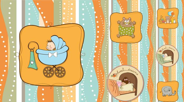 卡通baby卡片矢量素材