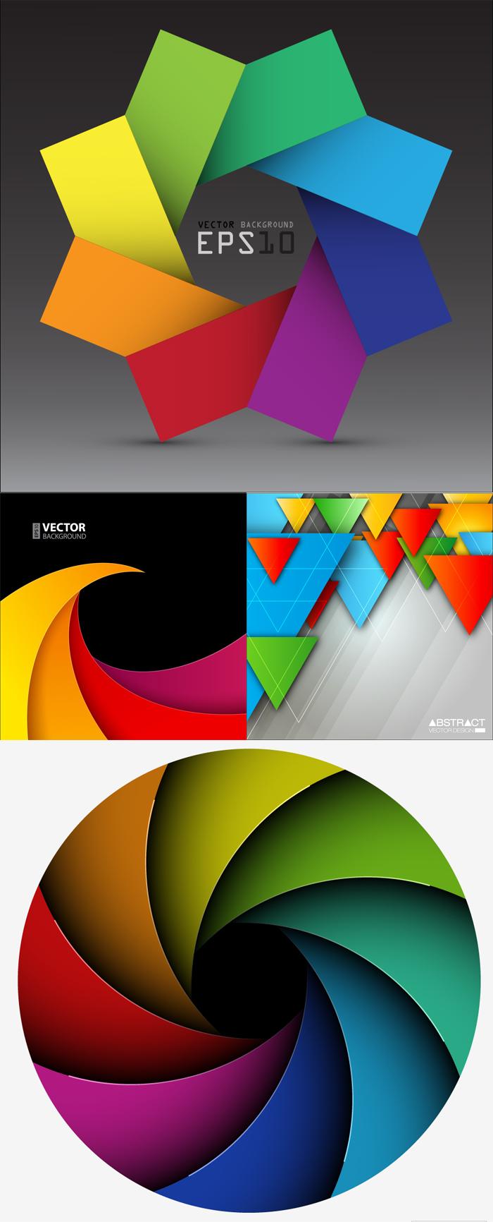 炫彩几何图形背景矢量素材