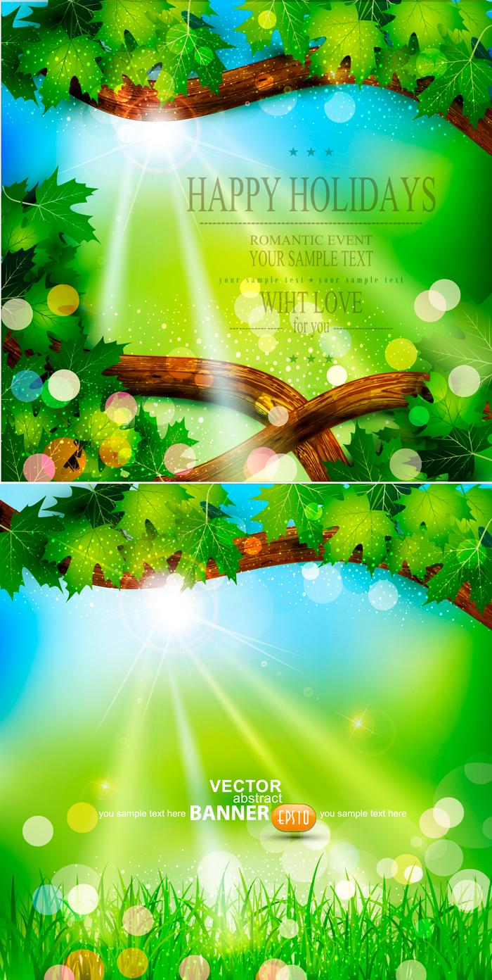 春季自然背景设计矢量素材