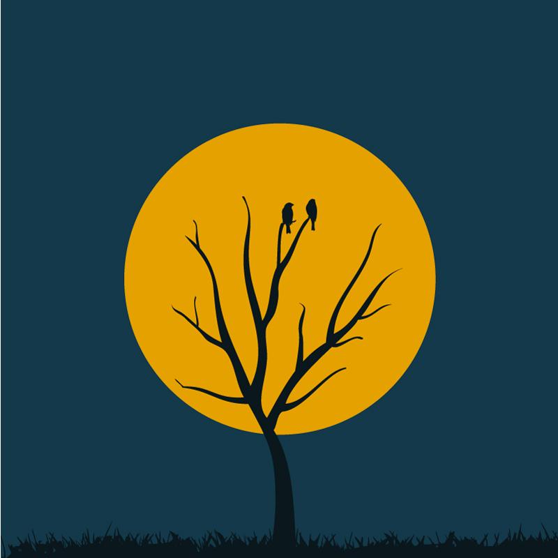 创意月亮树背景矢量素材