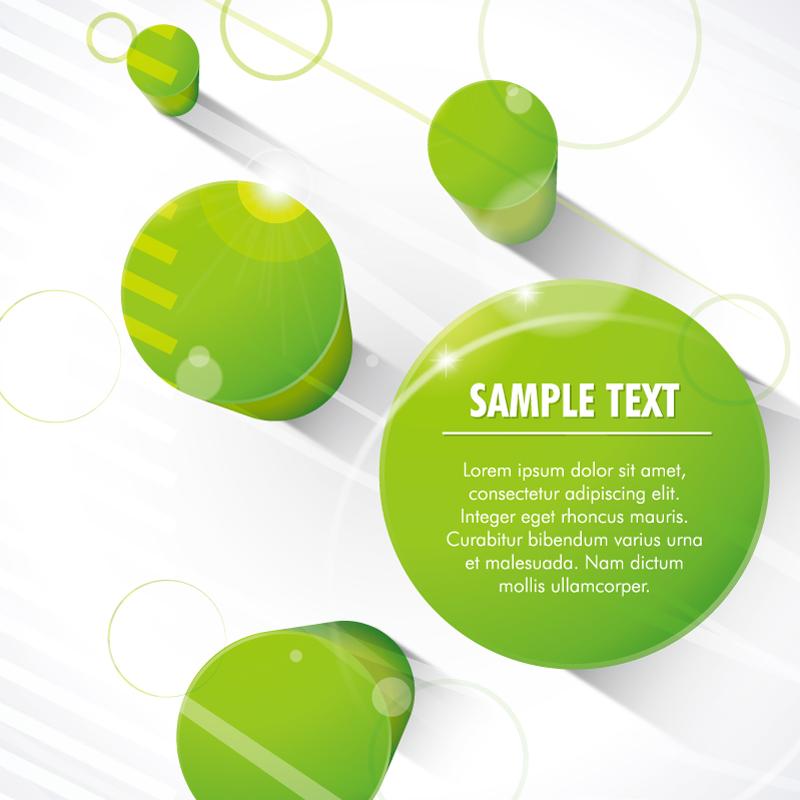 3D绿色圆柱背景矢量素材