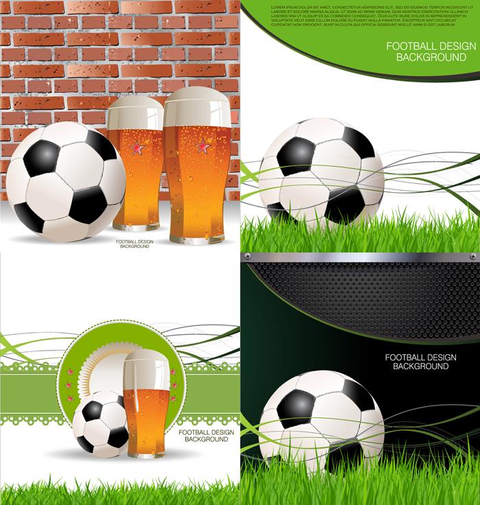 创意足球背景设计矢量素材