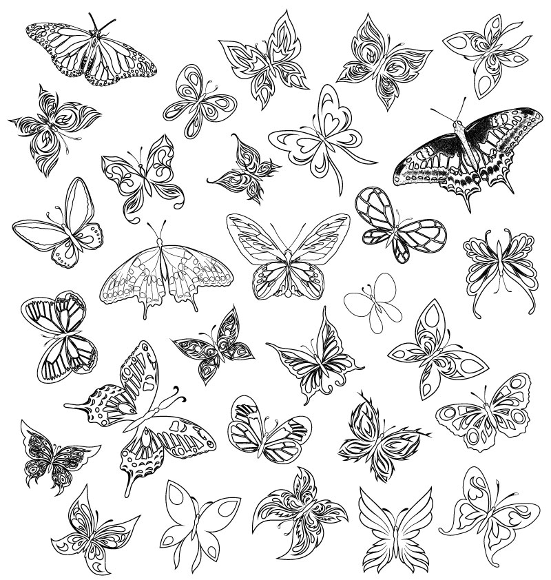 简洁手绘蝴蝶设计矢量素材图片
