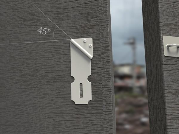 45度不会刮伤的合页锁扣设计