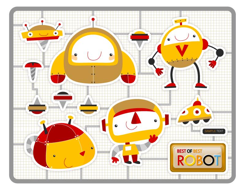 可爱机器人矢量素材_矢量卡通