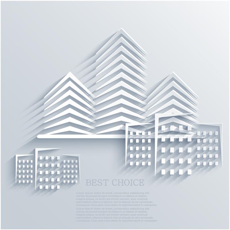 创意建筑剪纸矢量素材图片