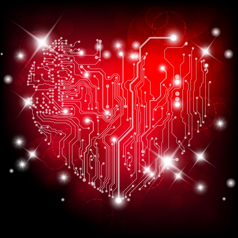 爱心线路图矢量素材高清图片