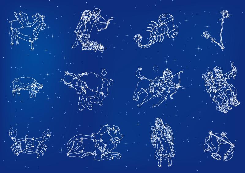 十二星座图案矢量素材