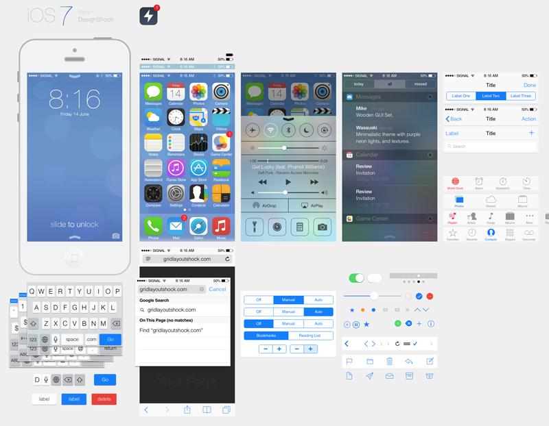苹果ios7系统界面PSD素材