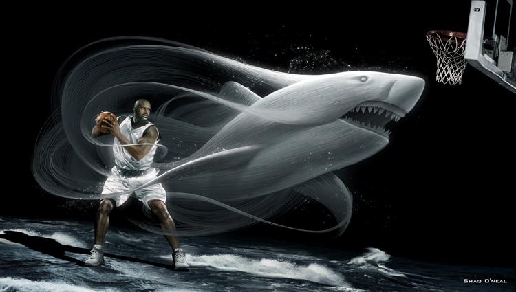大鲨鱼篮球球星的广告设计