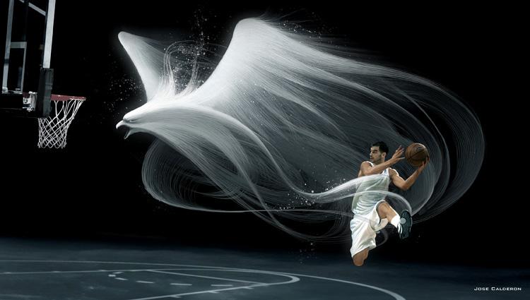 雄鹰篮球球星的广告设计