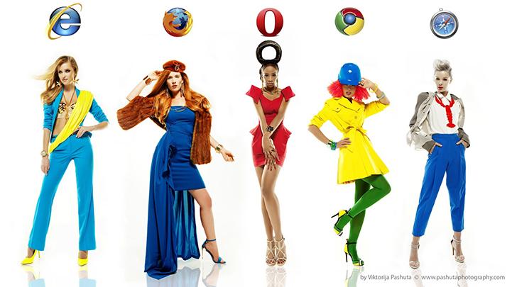 时尚女郎的浏览器代言