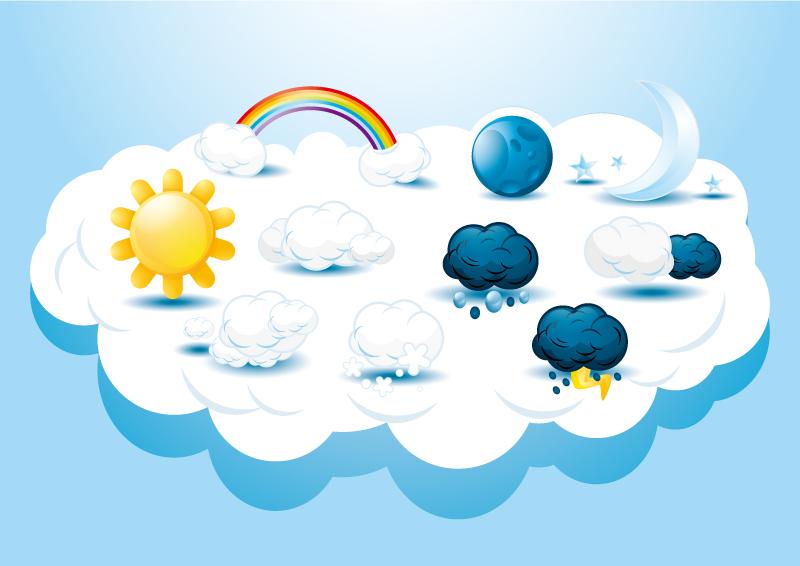 卡通创意天气图标矢量素材图片