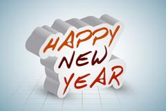 立体新年快乐海报矢量素材
