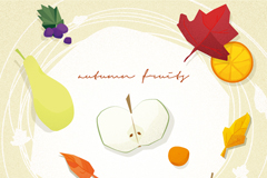 秋季水果插画矢量素材