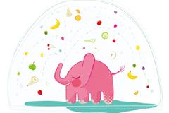 粉色花洒大象插画矢量素材