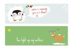 卡通童趣动物圣诞横幅矢量素材