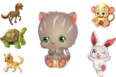 6款可爱卡通动物矢量素材
