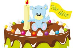 卡通熊生日蛋糕矢量素材