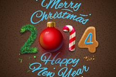 2014创意立体圣诞海报矢量素材