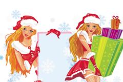 卡通圣诞女郎矢量素材