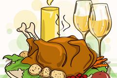 卡通感恩节火鸡大餐矢量素材