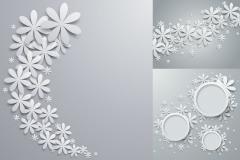 3款花朵剪纸装饰背景矢量素材