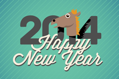 可爱马头新年海报矢量素材