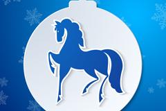 精美骏马吊球圣诞背景矢量素材