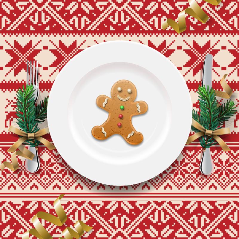 餐桌桌布_创意圣诞餐盘背景矢量素材_矢量节日_懒人图库