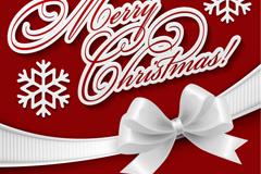 精美圣诞白色蝴蝶结背景矢量素材