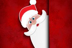 可爱圣诞老人剪纸插画矢量素材