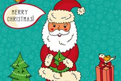 圣诞老人与小鸟插画矢量素材
