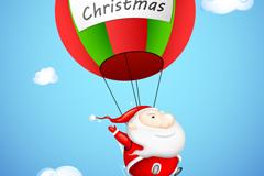 卡通热气球圣诞老人矢量素材