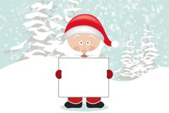 卡通持空板圣诞老人矢量素材