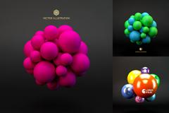 3款彩色3D球体装饰背景矢量素材