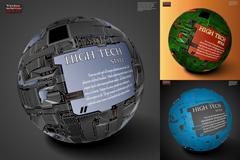 3款科技球体海报矢量素材