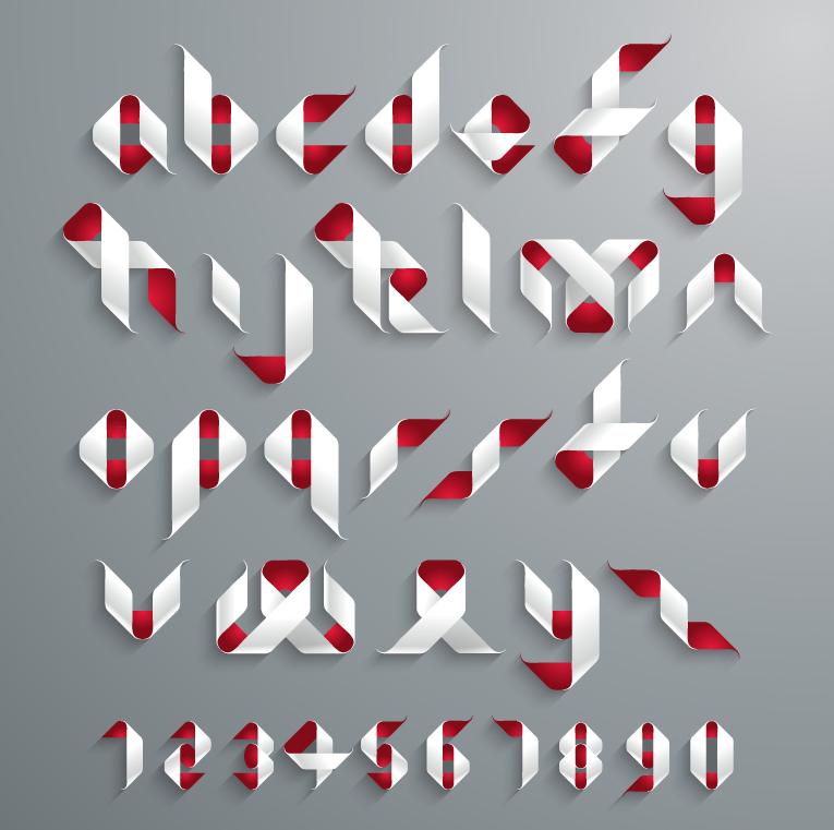 创意折纸字体设计矢量素材