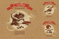 3款复古咖啡背景矢量素材