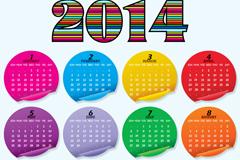 2014彩色贴纸年历矢量素材