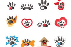 动物脚印标志设计矢量素材