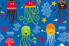 卡通水母插画矢量素材