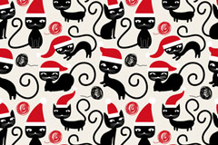 圣诞调皮黑猫矢量素材