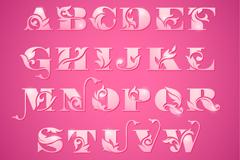 粉色花纹字母设计矢量素材